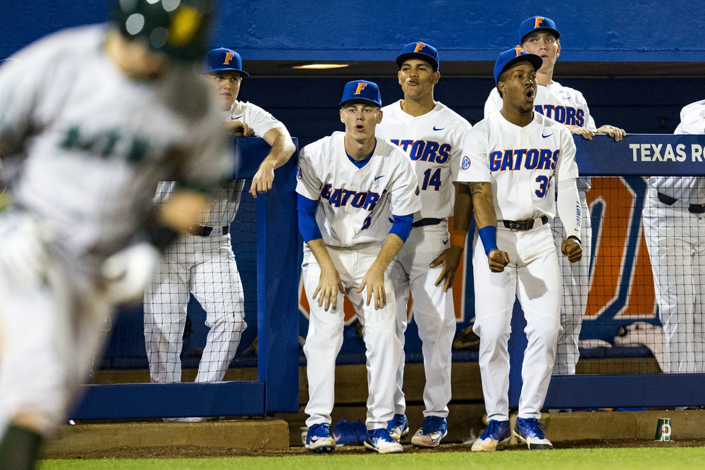 The Florida Gators react as Florida Gators Jordan Butler walks a Siena Saints player during Florida's home opener against the Siena Saints on February 16, 2018. The Florida Gators beat the Siena Saints 7-1.