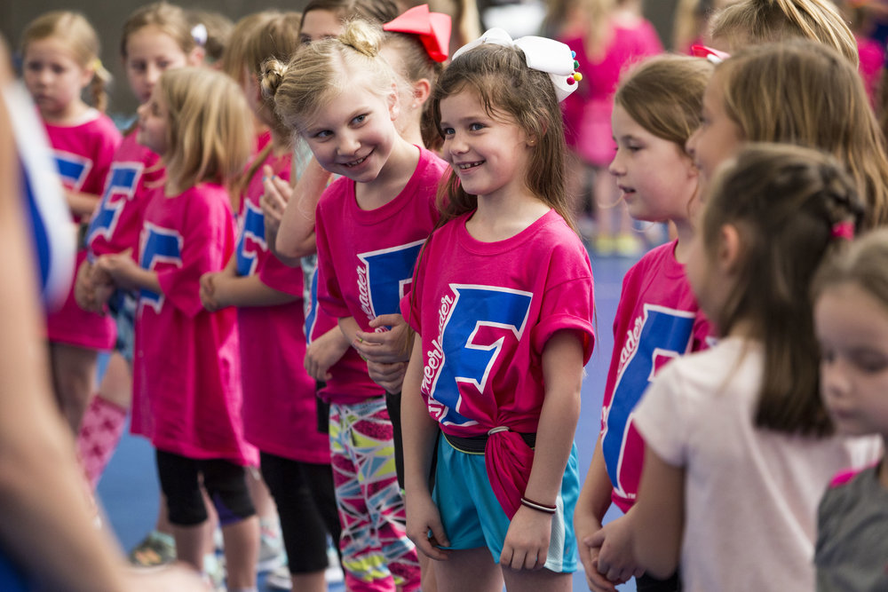University of Florida cheerleaders teach kids different cheers at UF's annual junior cheerleading camp in the O'Connell Center on February 23, 2018.