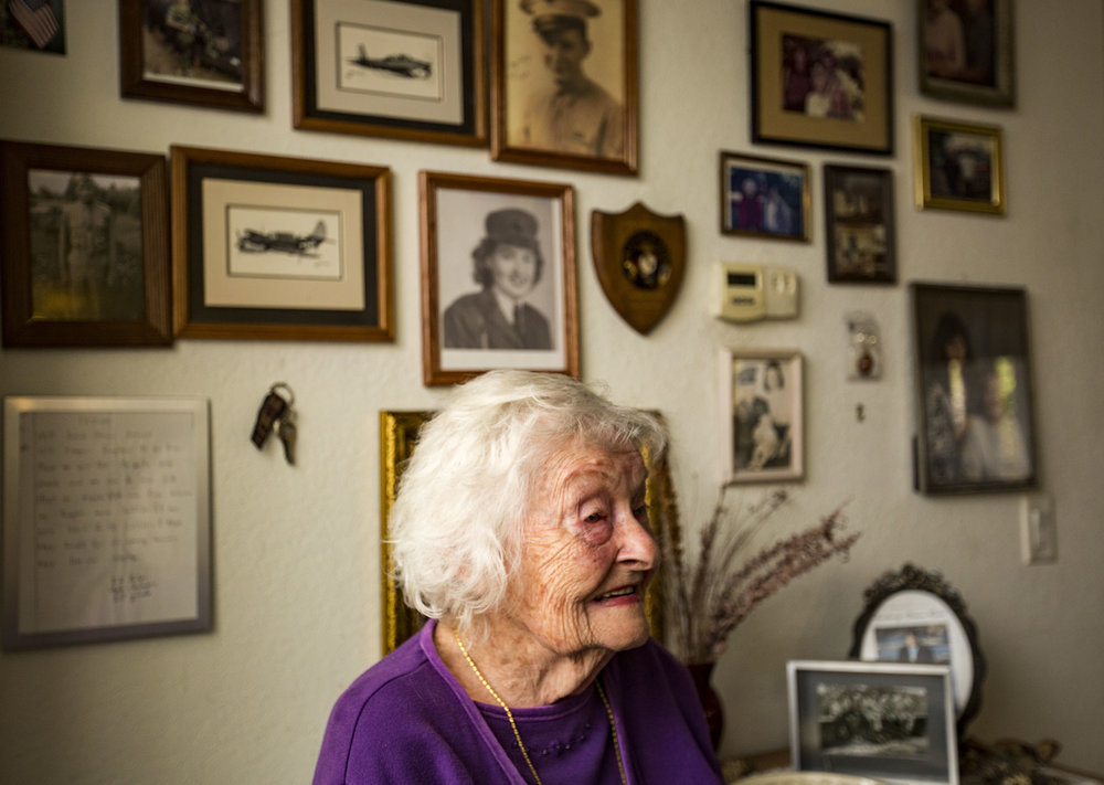 June Whitehurst, one of the first women to become a Marine, poses for a portrait in her home on March 22, 2018. Whitehurst celebrated her 95th birthday with her family on March 23, 2018.