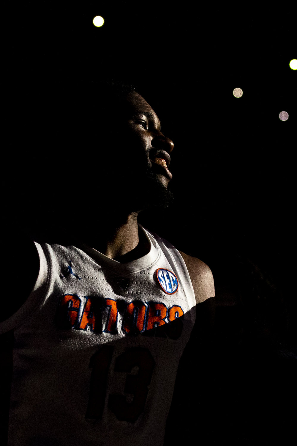 Florida Gators center Kevarrius Hayes (13) walks onto the court as the starting lineup is announced during the Florida Gators home game against the South Carolina Gamecocks on January 5, 2019.