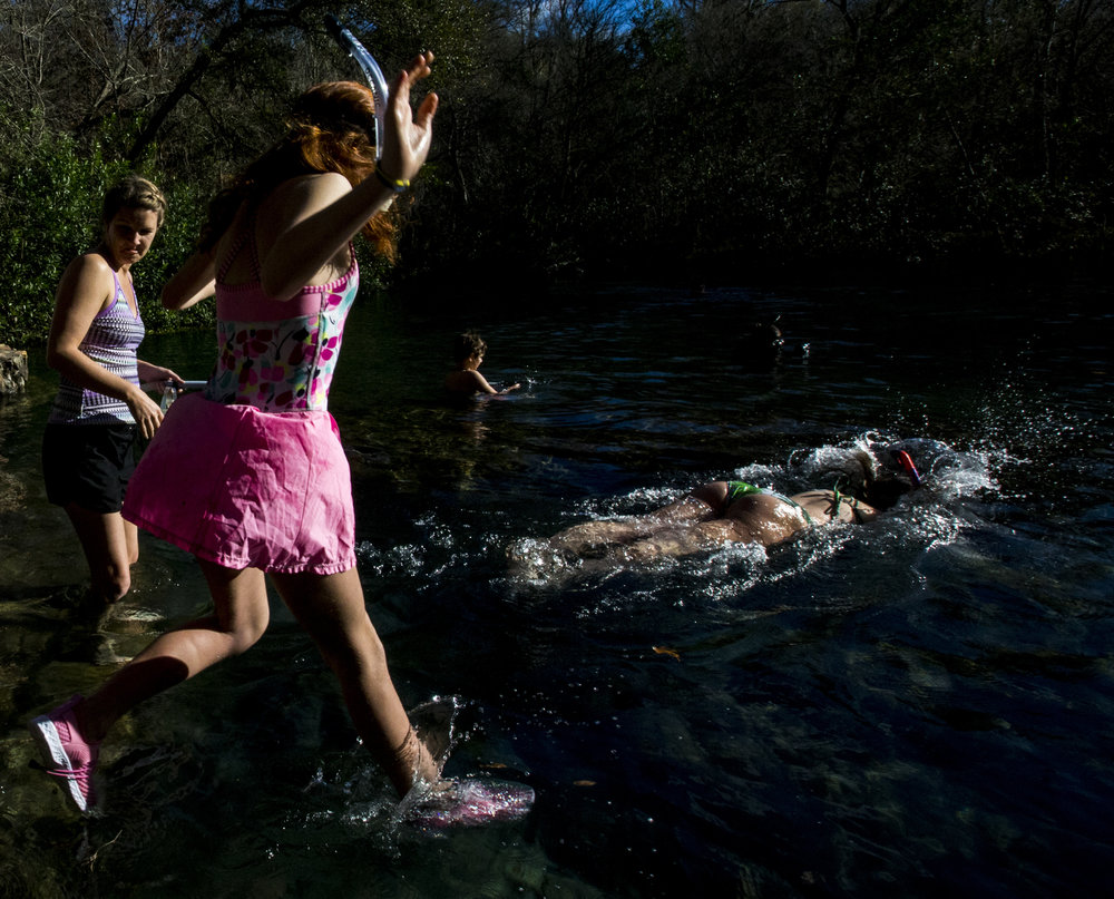 People jump into the springs during the Iche Nippy Dip Day at Ichetucknee Springs State Park on January 5, 2019. The annual January jump is to raise money for Relay for Life and Friends of Ichetucknee Springs State Park.