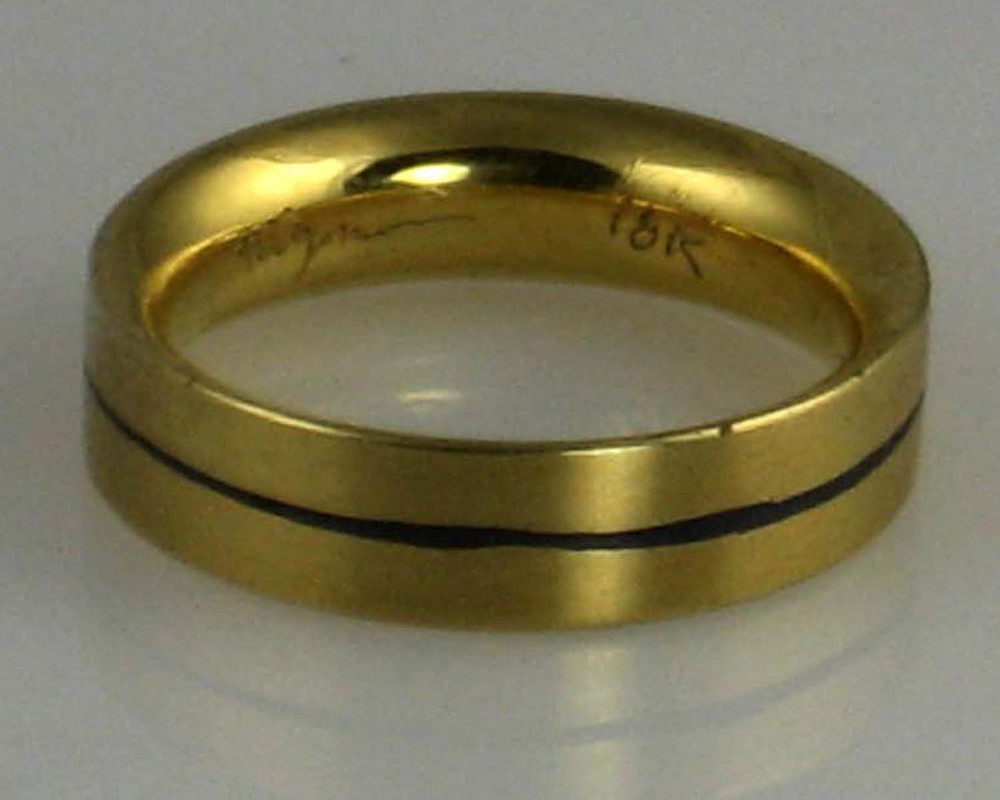 18K Yellow Gold and Niello Band Ring