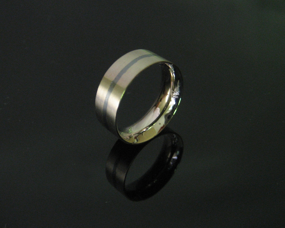 18K Palladium White Gold with Niello Band Ring