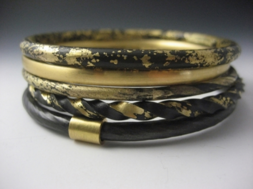 bracelets textured il fullxfull stacked listing gold bangles golden of monet stacking work jewelry bangle vintage set