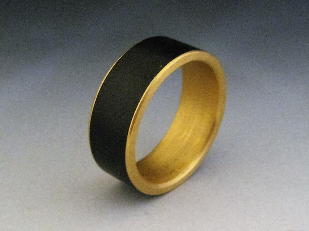 Plain Steel Band with 22 Karat Gold Liner