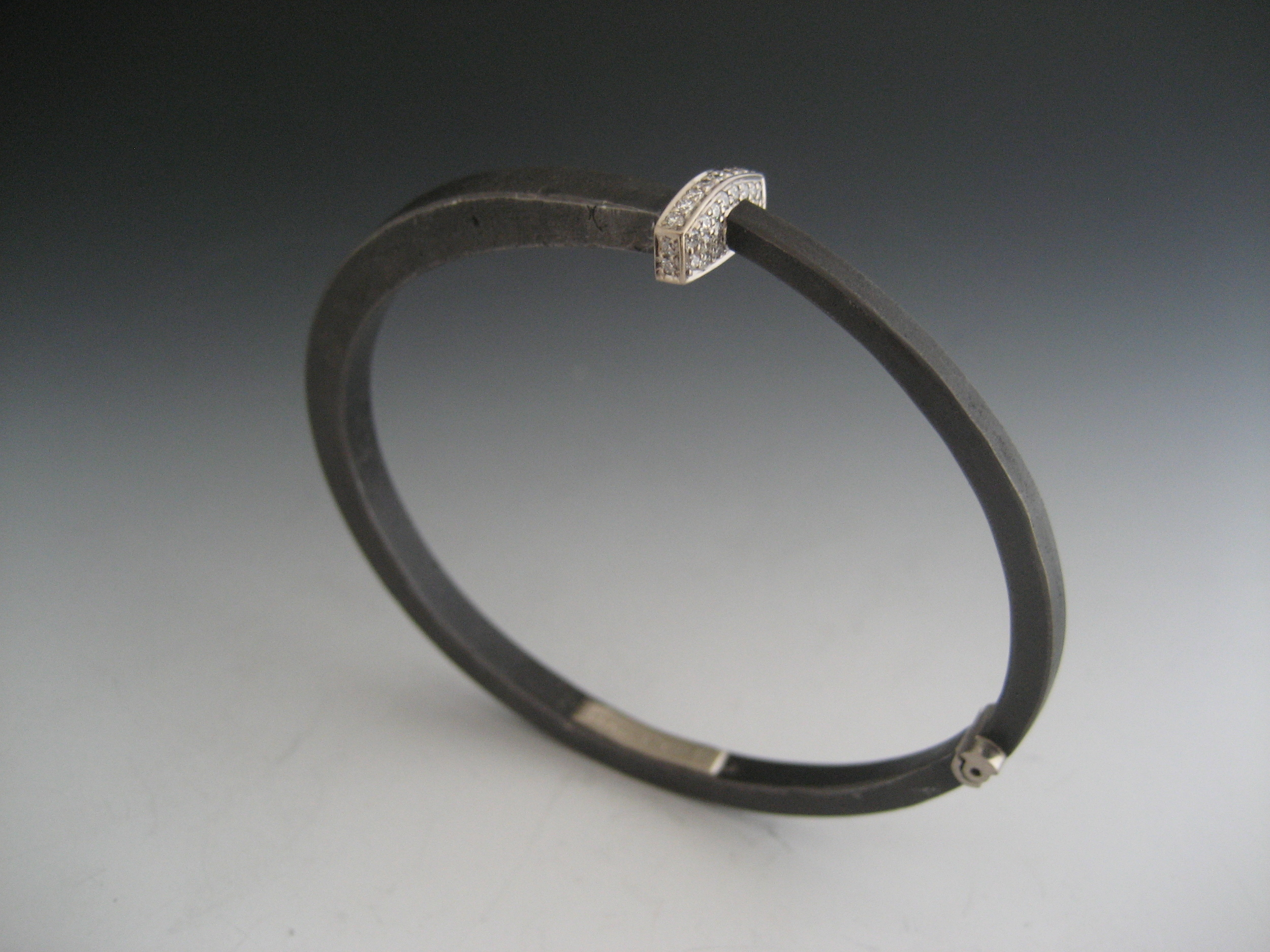 w iron flynn bangle pf products head pave by pat nail diamond bracelet