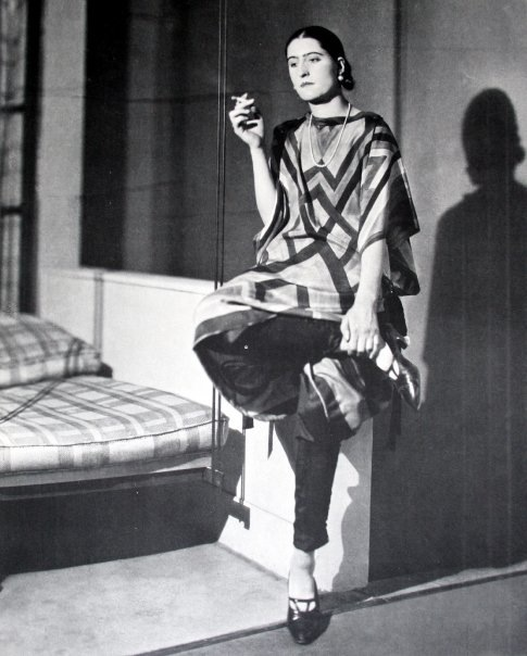 Sonia Delaunay wearing one of her many Geometric Textile Designs in Apparel form.