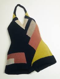 Bold Geo Knitted Bathing Suit! Extraordinary Color but not sure Id have gone swimming in it!