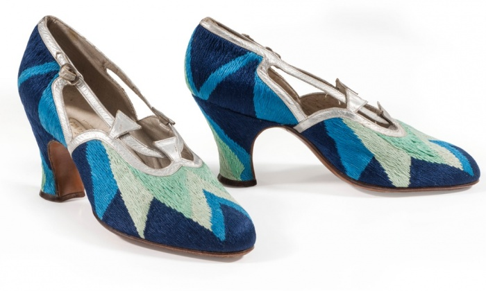 Triangle Geo Shoes Design in Tapestry Textile by Sonia Delaunay