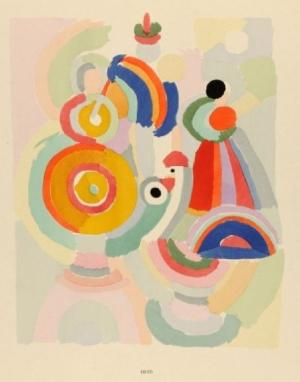 Painting by S. Delaunay, beautiful softened brights mixed with white feels diaphanous and airy...