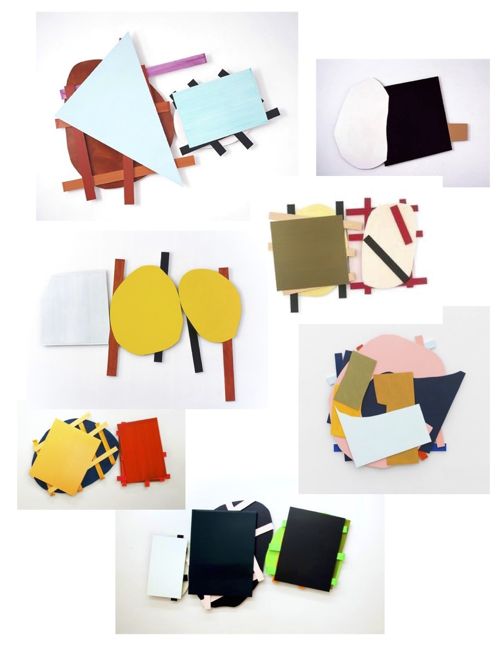 'Collages' of painted wood or metal in abstract geometric shapes, layered together creating inspiring color combinations and patterns....