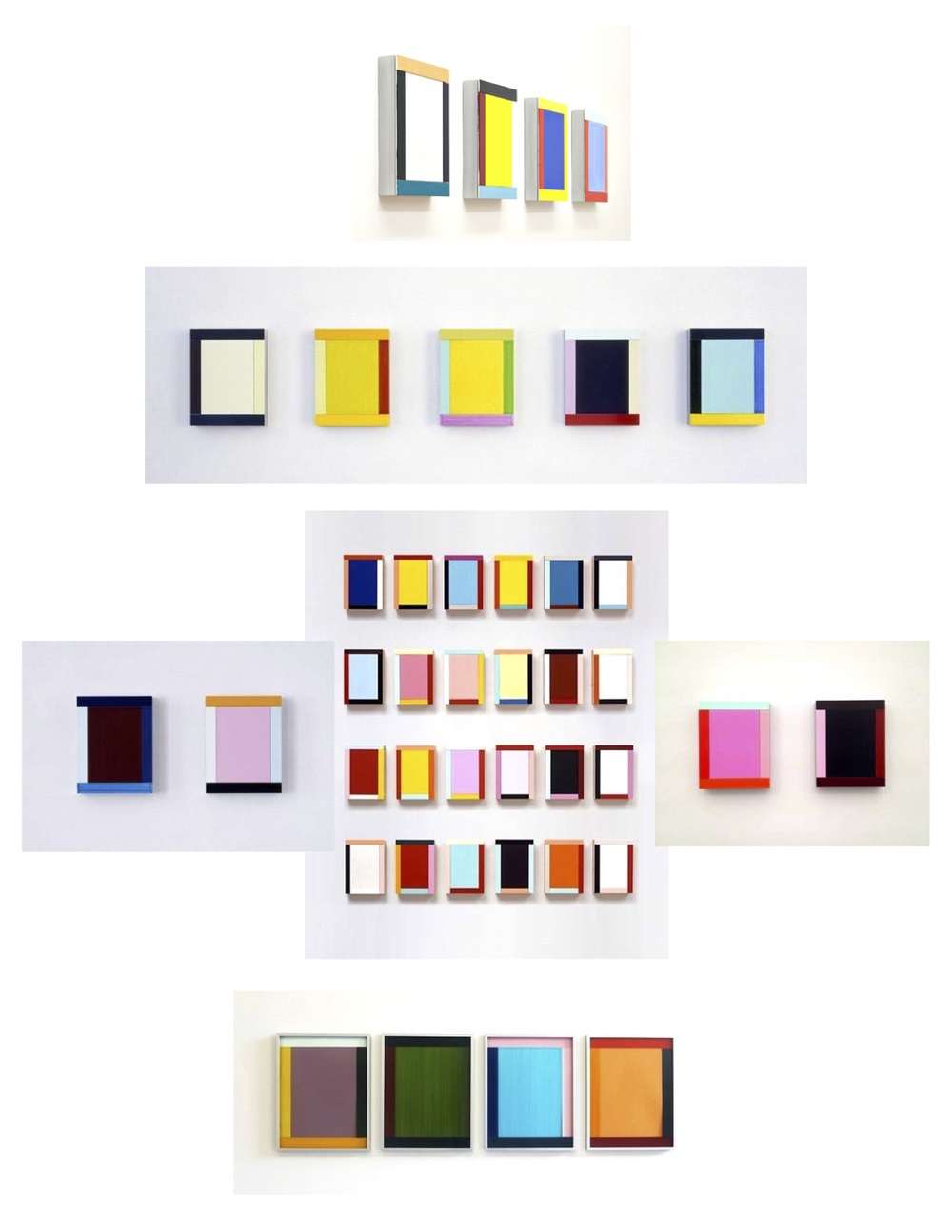 More formalized 'Frame' compositions again play with color theory spanning deep, bright andpastel hues.