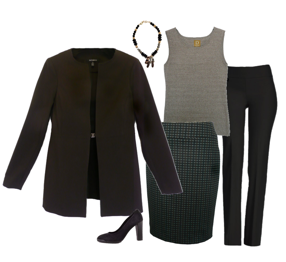 Classics to work with your knits! - Add a tailored jacket and skirt