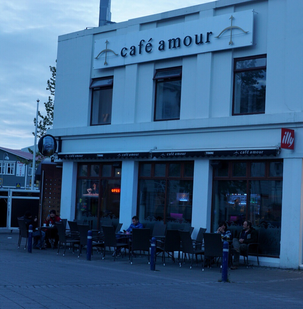 Cafe Amour in Akuryeri, Iceland. Gotta love that midnight sun.
