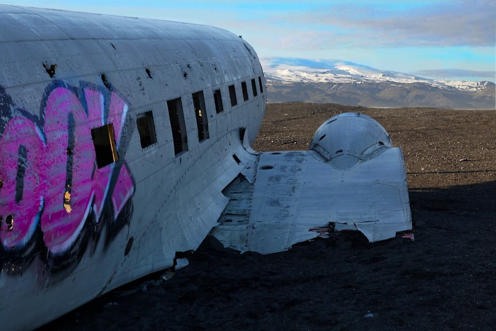 SOLHEIMASANDUR PLANE CRASH - ICELAND; No the background is not an oil painting.
