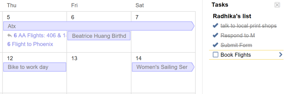 This is Google Calendar. Tasks are not under each day.
