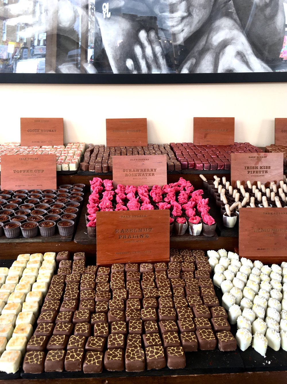 This chocolate shop on Brick Lane was nuts! We first thought they were selling bars of soap, but nope- it was chocolate!!