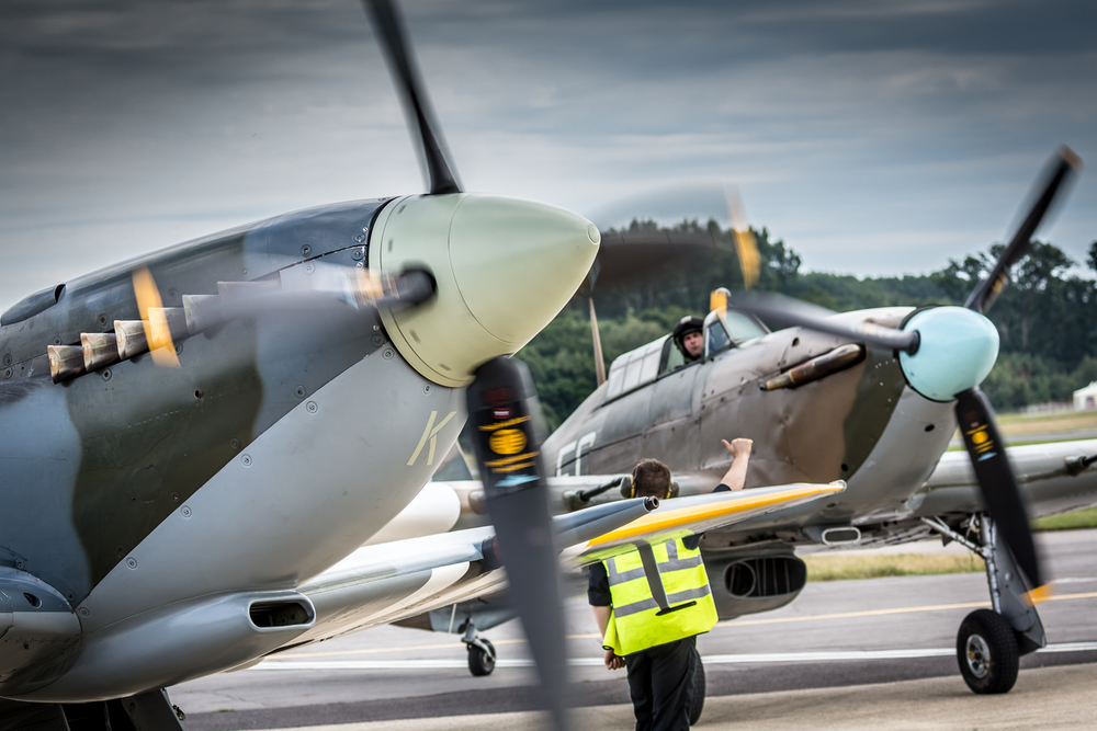 Hurricane and Spitfire preparing for takeoff