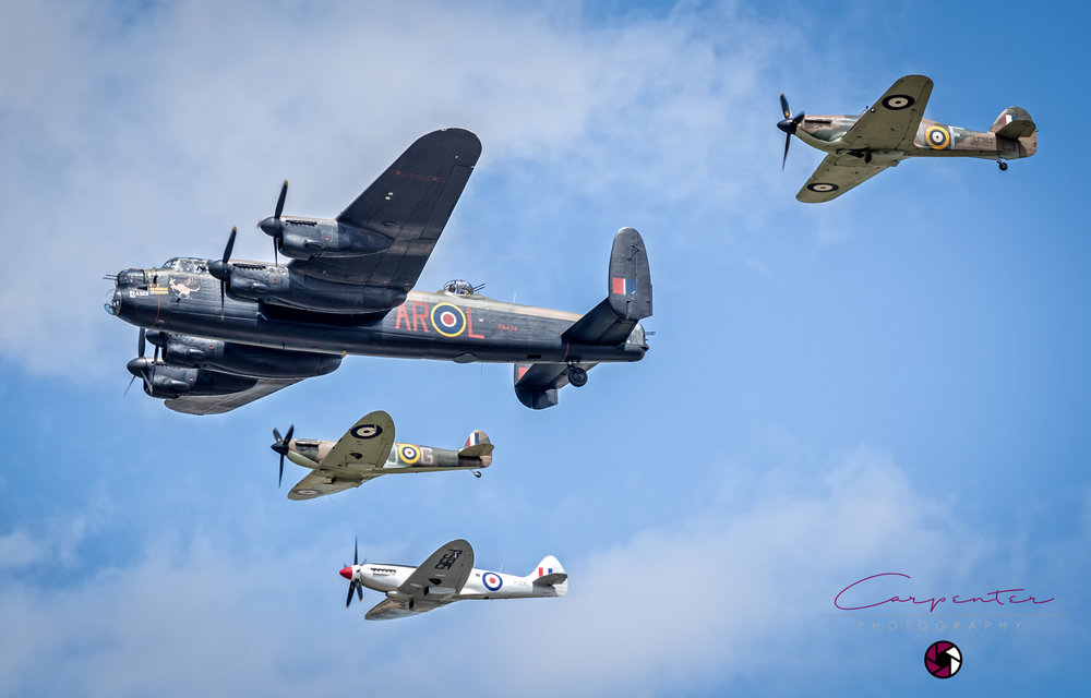 Lancaster Bomber,2 Spitfires and a Hurricane