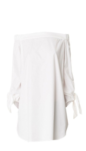 Tibi Satin Poplin Off-the-Shoulder Tunic ($295)