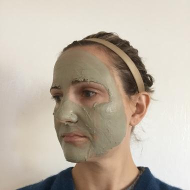 megan wearing clay mask