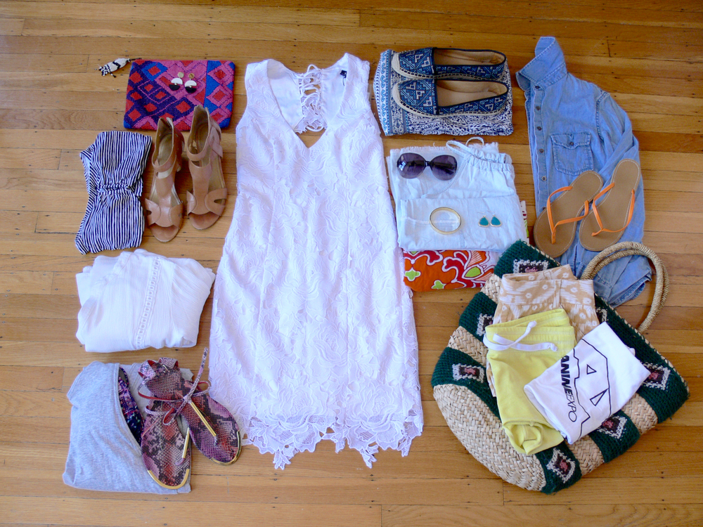 Left to right: Anthropologie beaded clutch, Kate Spade earrings, Bardot dress, Enzo Angiolini espardilles, Banana Republic chambray shirt, Old Navy flip flops, woven beach bag, Banana Republic shirts, sarong from Italy, Kate Spade bracelet and earrings, Missoni sunglasses, Steve Madden sandals, Helmet Lang dress, white cotton dress, Nine West sandals, Old Navy striped bikini