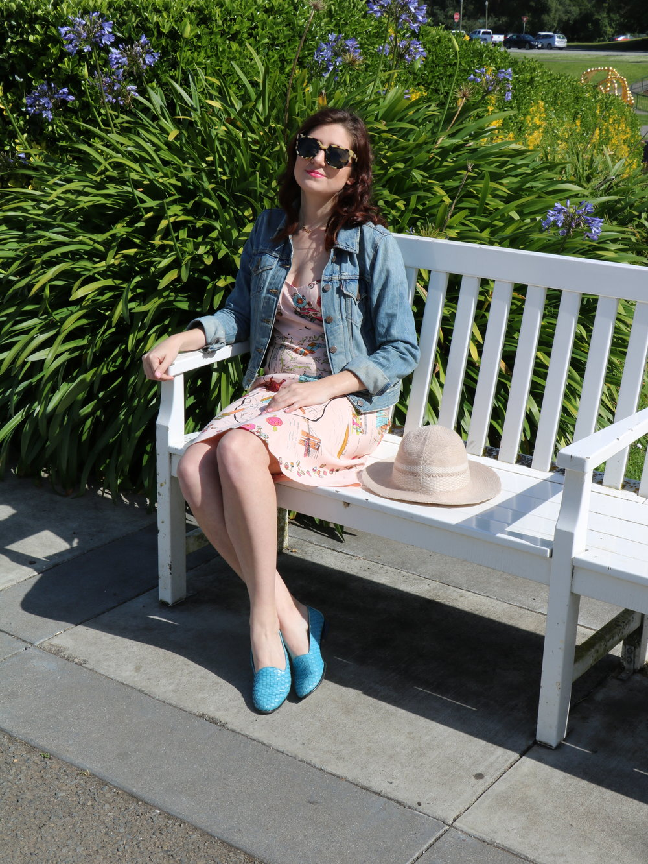 Outfit Details: Vintage Tibi Dress,  ASOS blazer  (similar),  Nine West Heels , Vintage Purse,  Warby Parker Sunglasses ,  Levi's Denim Jacket ,  Trotters Woven Loafer ,  BCBGeneration Panama Hat