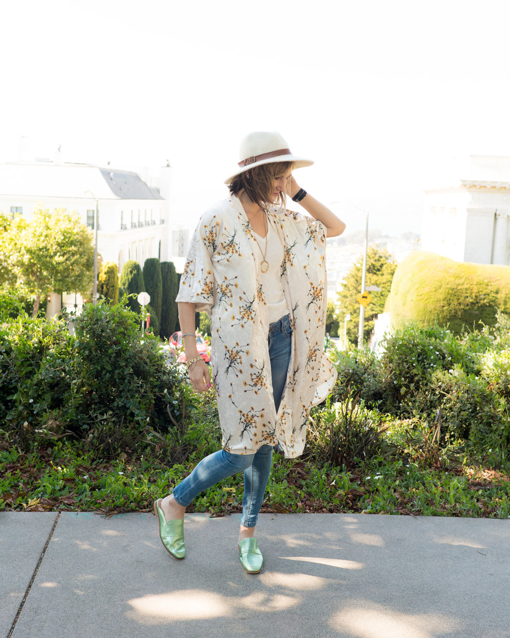 Outfit details:  Goorin Bros. fedora ,  Anthropologie dandelion velvet kimono ,  All Saints Vana sweater ,  DL1961 Emma jeans ,  Free People metallic mules , vintage jewelry