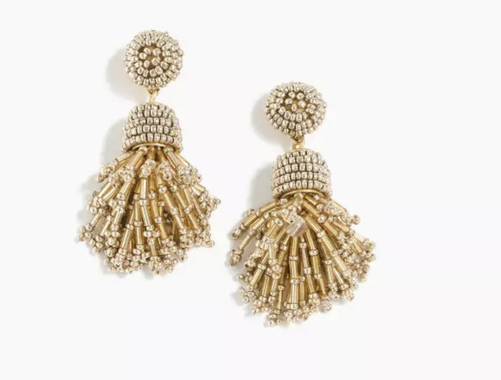 Jcrew Beaded Tassel Earrings $65