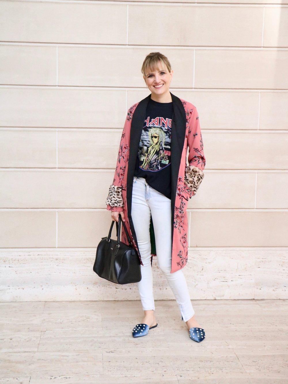 Outfit details: Rag n Bone denim ( similar ),  Bleached Goods Karl tee  (seldom seen also stocks them), Endless Rose faux fur trim kimono ( on sale! ), Furla bag ( similar ),  Yoki velvet slide