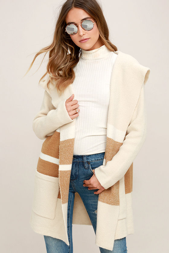 CARLSBAD TAN AND BEIGE HOODED CARDIGAN SWEATER $66