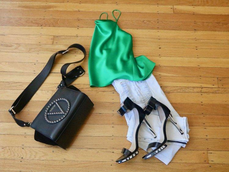 Outfit details:  Alice + Olivia satin cami , Rag n Bone jeans ( similar ), Calvin Klein heels (old),  Valentino studded cross body.