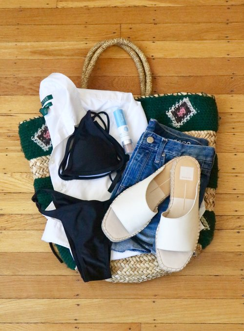 Outfit details: yarn beach bag,  Ralph Lauren button down ,  Super Goop SPF powder ,  Shein bikini ,  Gap denim shorts ,  Dolce Vita sandals