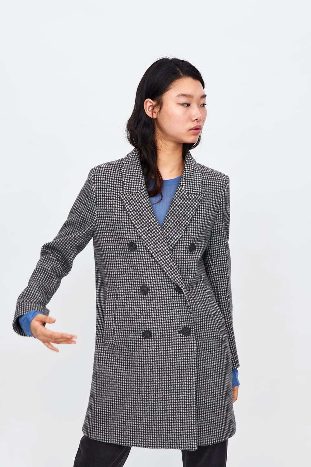 Zara DOUBLE-BREASTED PLAID COAT $119