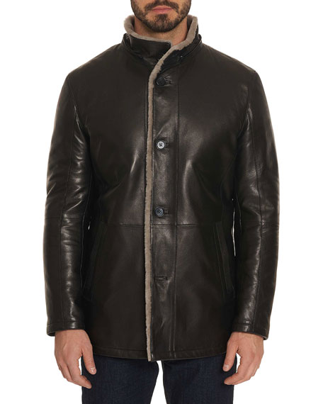 Robert Graham Men's Benson Shearling Fur-Lined Leather Jacket $2,398