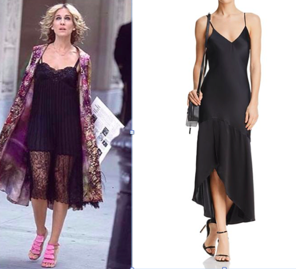 Left: Carrie Bradshaw, Sex and the City 1994 Right:   CAMI NYC     Sandra Flounced Silk Slip Dress