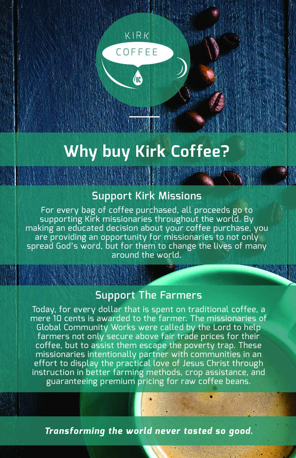 Kirk coffee beans and espresso