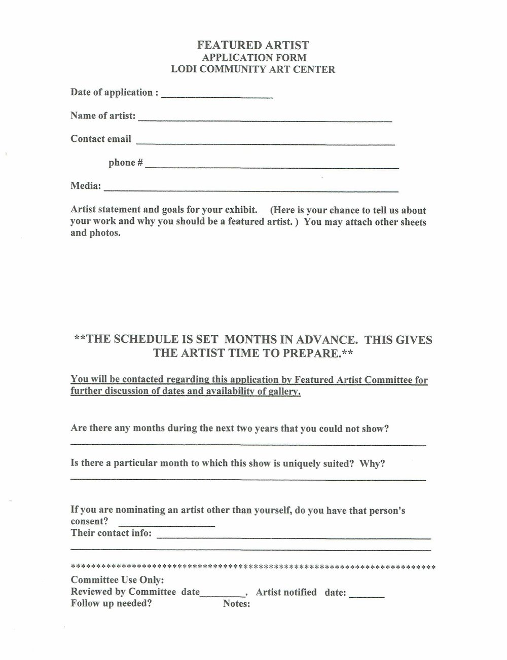 Featured Artist Application Form