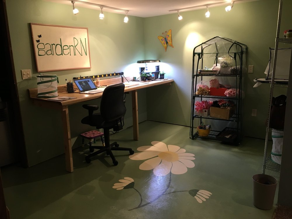gardenRN work space with painted cement floor