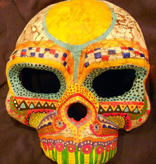 "Latest Calavera Mask in progress by Diego Marcial Rios. ""Follow me on Facebook to see progress on mask-making projects. I show various stages of the process."""