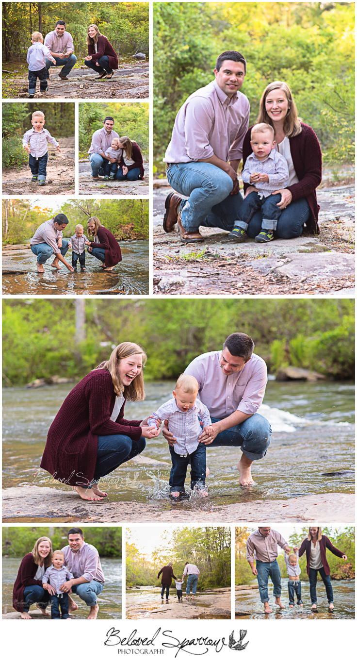 Family portrait session at Line Creek in Peachtree City Fayette County GA by Forsyth County photographer Jeannine Hodges