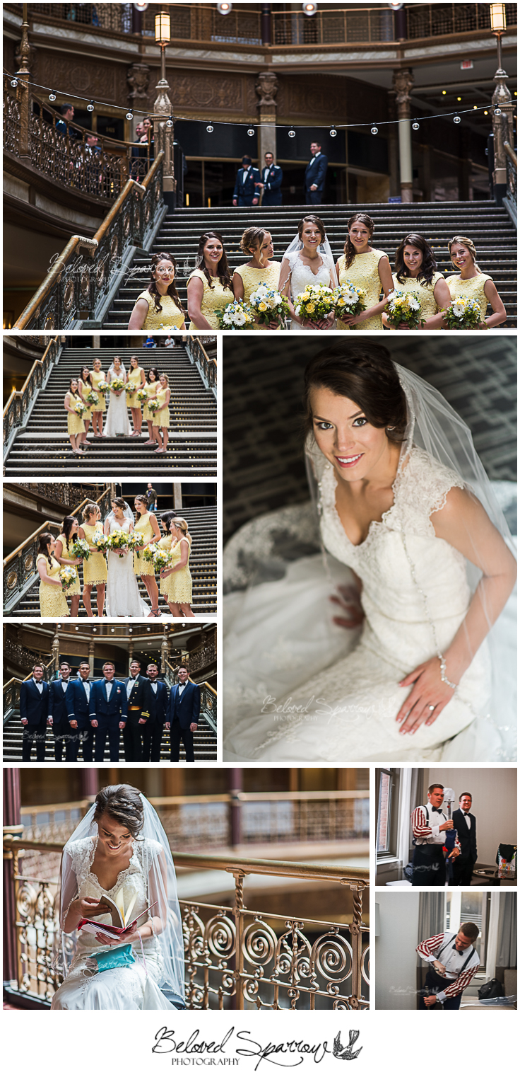 Hyatt Arcade formal portraits on grand stairwell and bride and groom exchange gifts before the ceremony.