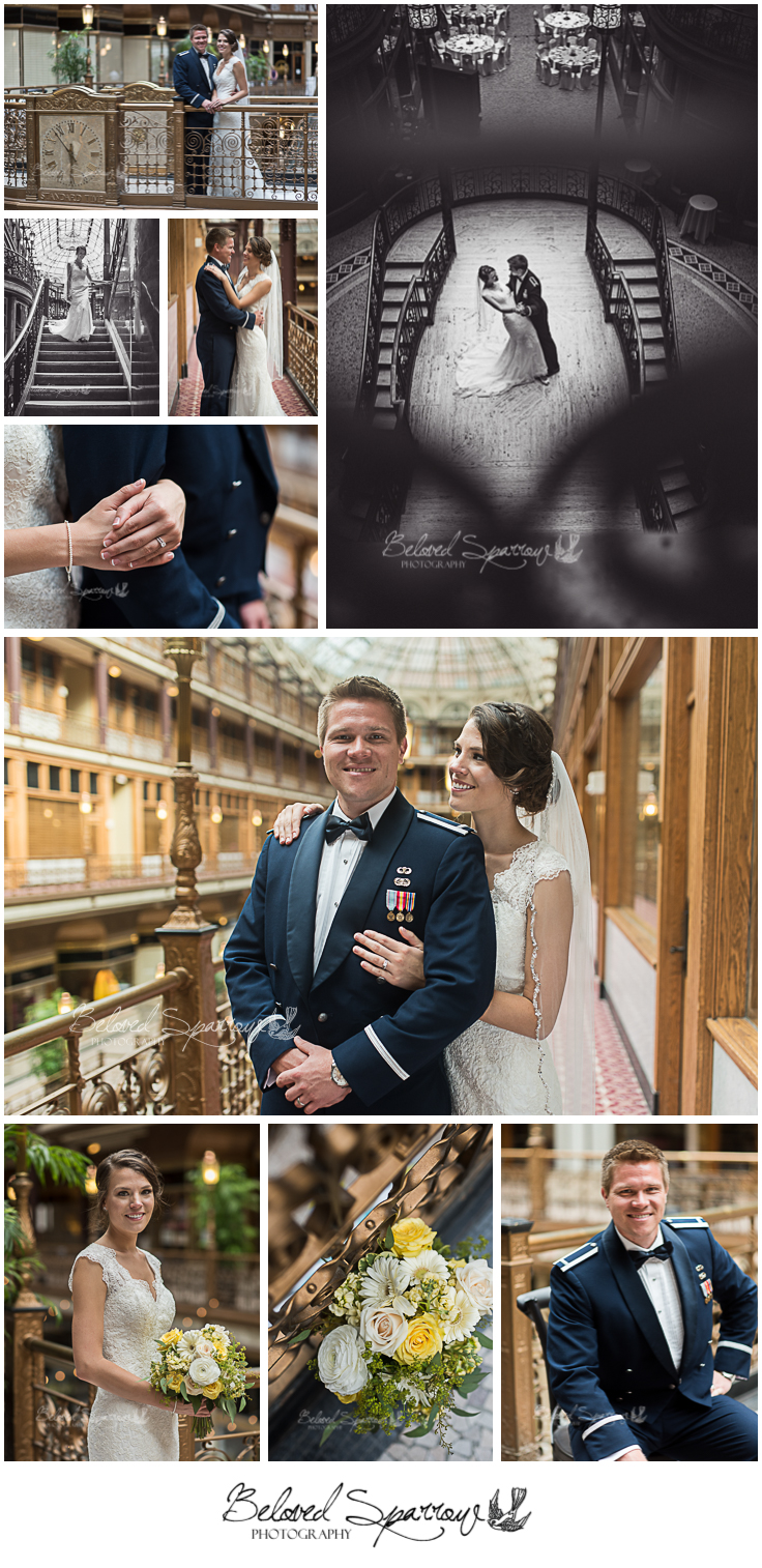 Bride and Groom portraits at Hyatt Arcade in Cleveland, OH by Atlanta wedding photographer