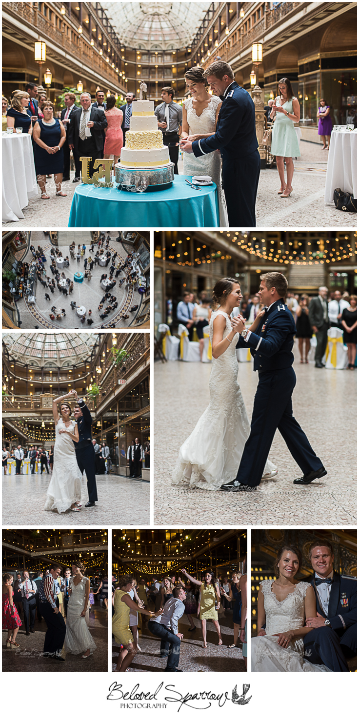 Wedding reception at Hyatt Arcade in Cleveland, OH by Atlanta wedding photographer Jeannine Hodges