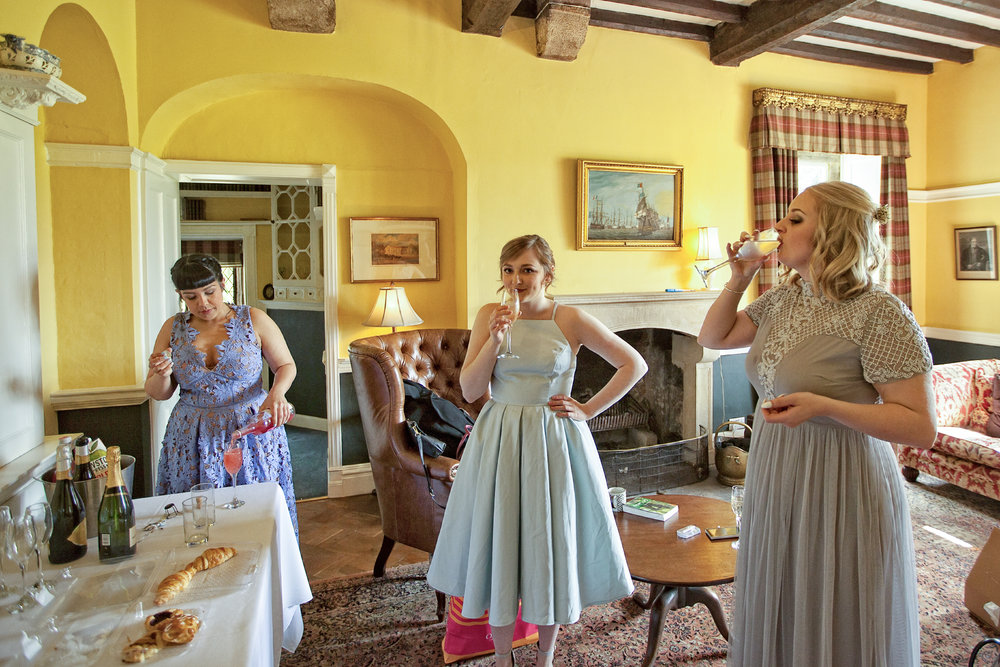Bridesmaids taking some refreshments