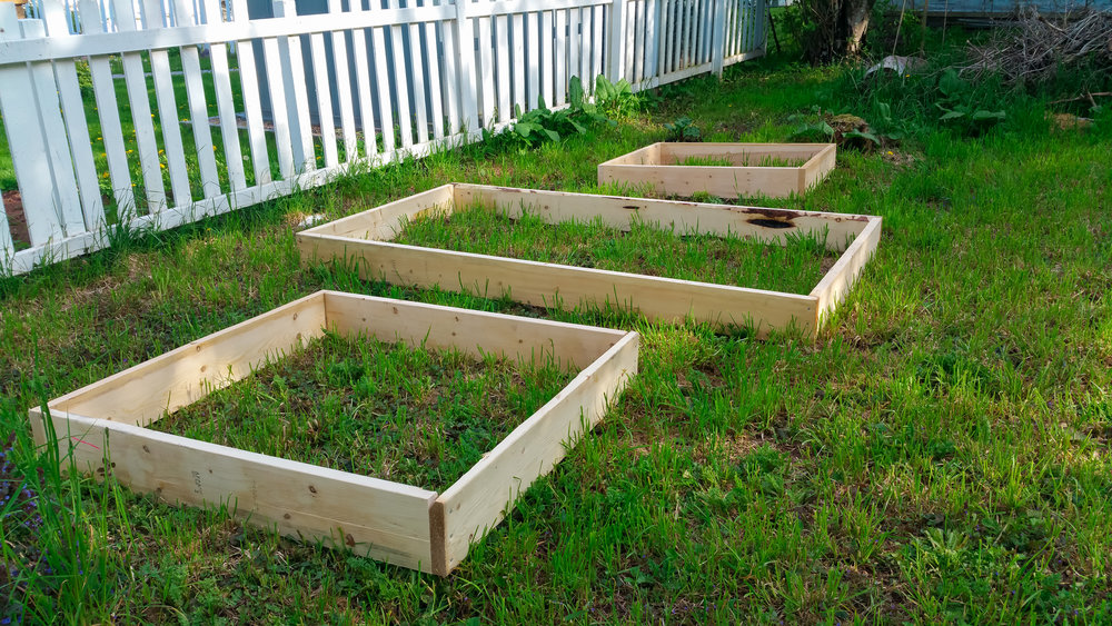 i have been bugging my husband for months now about the garden... and all the things that i want to do... and today he surprised me by coming home before me and quickly putting together the boxes i wanted for the raised garden... i can't wait to fill these up!  :) :) :)