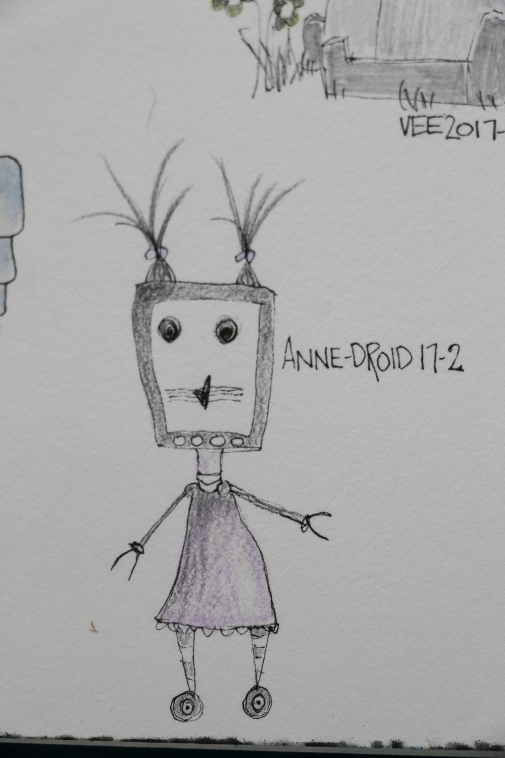 i realize that i really don't draw many girl robots...that will have to be addressed! and i am more than sure i am not the first person to come up with the name anne-droid for a girl robot... but anyway...here she is.  September 13, 2017 robot #6