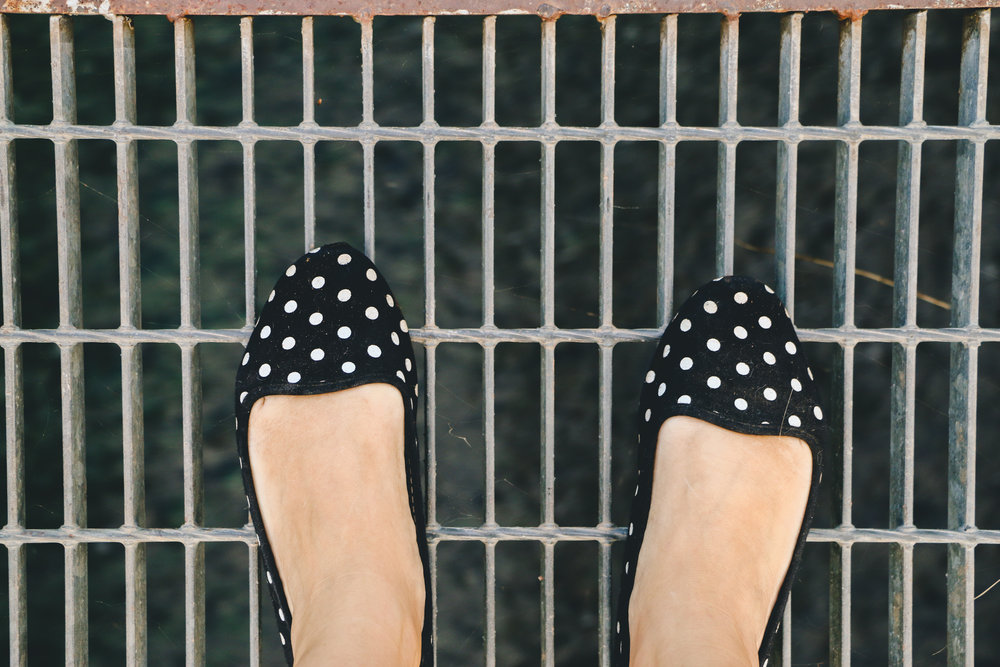 i have no photos of the roasted broccoli so please accept this rare photo of my polka dot shoes instead.  :)
