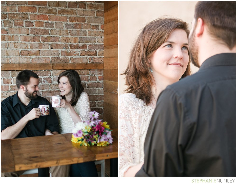 929 coffee bar engagement photos