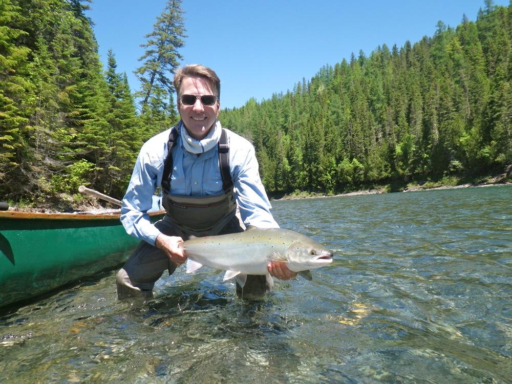 Camp Bonaventure regularJohn Long with his first salmonof 2015, congratulations John!